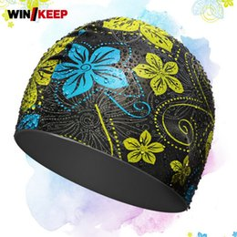 Korean swimwear women online shopping - High Quality Silicone Elastic Pool Swimwear Floral Printed Waterproof Swimming Caps Softshell Comfort Korean Ear Protection Hats