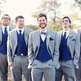 Grey tuxedo styles online shopping - Gray Wedding Groomsmen Tuxedos Classic Style Three Piece Royal Blue Vest Grey Custom Made Men Suits Jacket Vest Pants