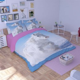 Discount horse bedding sets full size - Fantasy White Horses 3d Print Quilt Cover Blue Bedding Sets for Girls Babys Twin Full Queen King Sizes Bed in a Bag 3 4p