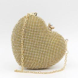 $enCountryForm.capitalKeyWord NZ - women Evening Bags Rhinestone Heart Shape clutch purse Crystal diamond Women gold Silver Clutch Purse Chain Bridal Shoulder bag