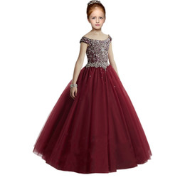 $enCountryForm.capitalKeyWord UK - 2019 Fashion Burgundy Girls Pageant Dresses For Prom Evening Party Off the shoulder with Short Sleeves Tulle Embellished Crystal Sequin