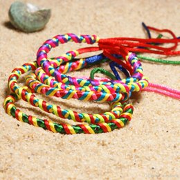 friendship gifts NZ - Charms Bracelets Rainbow Color Bohemian Yoga Bangle Rope Chain Hand Weave Handmade Friendship Bracelet Girls Gift Jewelry 5 Pieces H678F