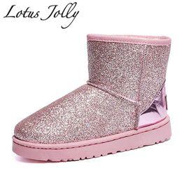 Platform Glitter Ankle UK - 2018 Glitter Snow Boots Women Thick Fur Warm Flat Platform Cotton Sequined Cloth Ankle Boots Winter Shoes Woman Botas