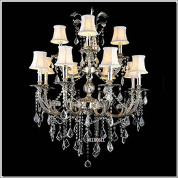 classic gold chandelier lights Canada - Classic 12 Arms Silver or Gold Crystal Chandelier Lighting Fixture Lustre Crystal Hanging light with K9 Crysta MD88061