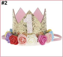 Free Shipping 30pcs Baby Girl Boy One 1 2 3 4 5 6 7 8 9 Years Old Birthday Hat Crown Headbands Party Decoration Hair Decorative