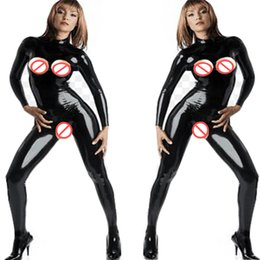 0803e8f713 Plus Size 5XL Sexy Catwoman Costume Erotic Open Bust Crotch Bodysuit Long  Sleeveless Faux Leather Catsuit Sexy Women Jumpsuit