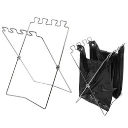 China Foldable Portable Outdoor Garbage Bag Storage Stainless Steel Holder Hanging For Kitchen Supplies Accessories Free Shipping ZA5725 supplier types flooring for bathrooms suppliers