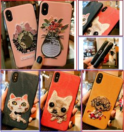 Designs For Iphone Cases Australia - For iPhone X 8 plus cases premium Embroidery creative Korea design Pets Phone Case for iPhone 7 7 plus 6 6s Plus Back Cover shell