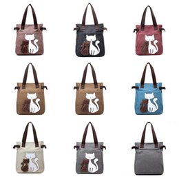 Cat bag wholesale online shopping - Women Canvas Handbag Fashion Ladies Shoulder Bags Cute Cats Design Tote Bag Travel Outdoor Sports Handbags