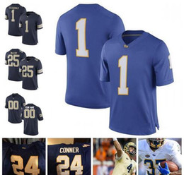 e0437aed6 Mans Pittsburgh Panthers Pitt College Football  25 LeSean McCoy 1 Larry  Fitzgerald 24 James Conner Navy Blue Gold White NCAA College Jersey