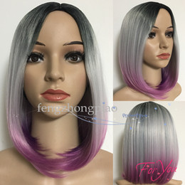 rose human hair 2019 - FZP Cosplay Short Wigs For Women Charming Hair Ombre Wig Black  Grey  Rose Red Simulation Human Hair Wig discount rose h