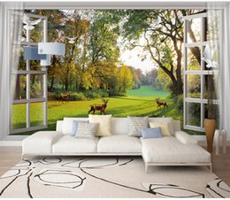 $enCountryForm.capitalKeyWord Australia - Customized Window Scenery Woods Small River Side Deer Pigeons Dream TV Background Wall Grass White Clouds Deer White Pigeons Leisure Murals