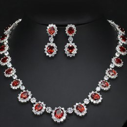 Olive green jewelry sets online shopping - 2018 New Luxury CZ Clear Crystal Ruby Necklace Earrings Evening Party Wedding Jewelry Sets For Bridal Jewelry
