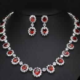 2018 novo luxo cz cristal claro rubi colar brincos à noite festa de casamento conjuntos de jóias para a jóia nupcial venda por atacado