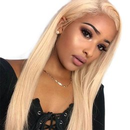 long blond human hair wigs NZ - Silk Base Full Lace Human Hair Wigs With Black Women Pre Plucked Straight Chinese Remy Human Hair Blond #613 Color