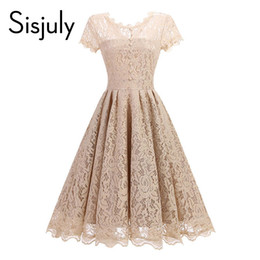 ca8546434e15 Sisjuly vintage 1950s vestido de encaje de primavera una línea de mujeres vestido  de fiesta de verano o-neck balck azul a línea elegante vintage vestidos de  ...
