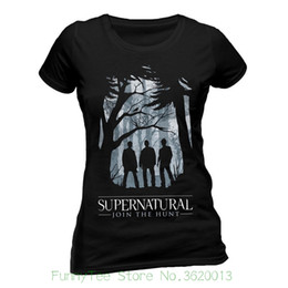 Chinese  Women's Tee Ladies Supernatural Group Outline Winchester Offiziell Frauen T-shirt Damen Funny 100 % Cotton manufacturers