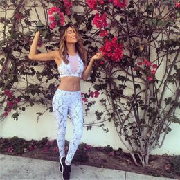 Cropped Leggings Clothing NZ - 2017 Print Mesh Patchwork Tracksuit Crop Top Tanks And Leggings Skinny Clothing 2 Pieces Hollow Women Clothing