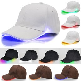 Wholesale LED Lighted Baseball Cap Glow Club Baseball Hip Hop Golf Dance Hat Optical Fiber Luminous Ball Cap Adjustable Xmas Party Hat Free DHL WX H01