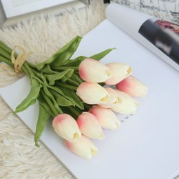 Silk Stems NZ - Tulip Artificial Flowers Real Touch Short Stem Single Stem Decorative Flowers For Home Wedding Display Table Party Bouquet & Wreaths Silk Fl