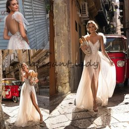 Berta Black Summer Dresses Australia - Berta 2018 Flowing Flare Lace Tulle Holiday Beach Summer Wedding Dresses with Butterfly Spaghetti Champagne Country Garden Bridal Dress