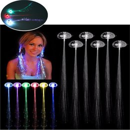 Discount hair extensions girl - Luminous Light Up LED Hair Extension Flash Braid Party Girl Colorful Hair Glow by Fiber Optic Christmas Halloween Night