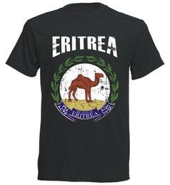 Ingrosso T-Shirt Eritrea WM 2018 .- Vintage Destroy schwarz Wappen D01 Stampato stile estivo Tees Maschio Top Fitness Abbigliamento di marca