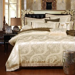 Pink White King Size Bedding Canada - SunnyRain 4 6-Pieces Jacquard Luxury Bedding Set Queen King Size Bed Set Imitated Silk Cotton Lace Duvet Cover Bed Sheet