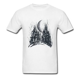 paintings new york 2019 - New York Tshirt Dystopia City Men's Black Watercolor Painting T Shirts O - Neck Cotton Spring Summer Male Tee Shirt