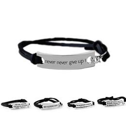 Citation Vous êtes étonnant de ne jamais jamais abandonner Bracelet Lettre Id Tag Bracelets Menottes en cuir pour les femmes Enfants inspiration bijoux Drop Shipping en Solde