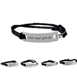 jewelry identification UK - Quote You are Amazing Never Never Give Up Bracelet Letter Id Tag Bracelets Leather Cuffs Women Kids bracelet inspirational Jewelry