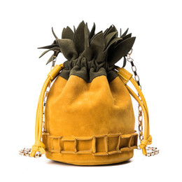 drawstring cosmetic bag Australia - 2018 Autuemn and Winter New dull polish Bucket Drawstring pineapple Shoulder Bag Yellow Brown Ladies Cosmetic Chain Cross body Bag