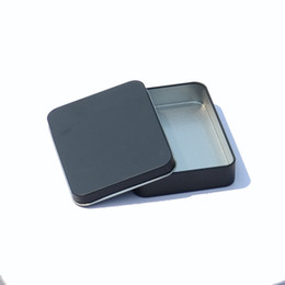 metal tea tin containers wholesale Australia - 11.5*8.5*2.2cm Mat Black Rectangle Mint Tin Box Candy Tea Storage Box Case Container Wholesale