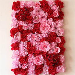 dried flowers decorations UK - 40*60 cm Silk Flower Wall Artificial Dried Flower Wall Backdrop Wedding Party Decoration Flower hotel background wall decor Road led