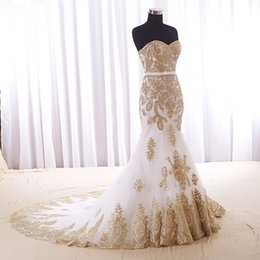 Golden Mermaid Gown Australia - High Quality Golden Lace Applique Mermaid Wedding Dresses with Train New Bride Custom Bridal Gown Special Occasion Bridesmaid Party 17wed571