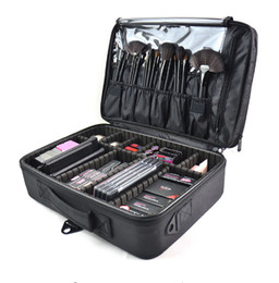 Chinese  High Quality Multi-function New Professional Women Makeup Case Bag Ladies Black Large Capacity Portable Cosmetic Storage Travel Bag manufacturers