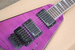 Black v guitars online shopping - Factory Purple V Type Electric Guitar with Pickups White Pearl Fret Inlay Double Rock Black Hardwares Can be Customized