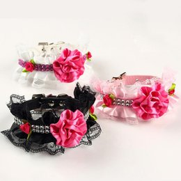pearl dog collars small 2019 - Fashion Pet Dogs Cats Lace Pearl Collar Doggy Cute Rose Flower Collars Adjustable Pet Cat Puppy Necklace ZA6362 discount