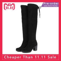 a7d608b76 AIMEIGAO Faux Suede Leather Over The Knee Boots Sexy High Heels Thigh high  Women Boots Comfort Square Heels Woman Shoes