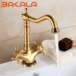 $enCountryForm.capitalKeyWord NZ - BAKALA Basin Faucets Brass Antique Deck Mounted Kitchen Bathroom Sink Faucets Dual Handle Vintage Carving Hot Cold Mixer Tap