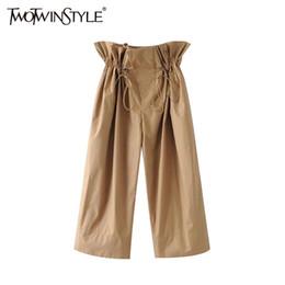 5d6406035c19 Korean women summer casual trousers on-line-TWOTWINSTYLE Plissado Calças De  Cintura Alta para