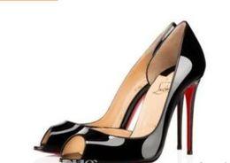 Top Qualité Grande Taille 34-44 Plate-forme Femmes Rouge Bas Talons Hauts Peep Toe femmes Chaussures Noir En Cuir Verni Extrêmement Haut Talon Avec Boîte
