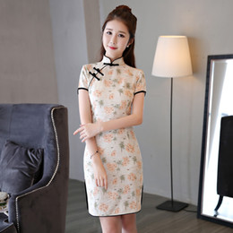 Discount sexy qipao chinese dress - Chinese Women Sexy Cotton Linen Split  Qipao Traditional Lady Mandarin a856819d34ae