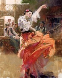 Discount flamenco dancer oil paintings - young Dancer Flamenco-In-Red Free Shipping,Hand-painted & HD Canvas Print female portrait Art oil painting On Canvas Mul