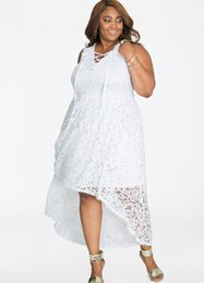 $enCountryForm.capitalKeyWord Australia - Lady large plus size XL-4XL lace asymmetrical party dress woman pure white hollow out vneck sleeveless one piece