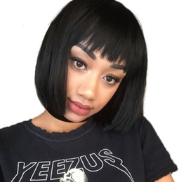 $enCountryForm.capitalKeyWord UK - Straight Lace Front Human Hair Wigs 130% Density Brazilian Malaysian Virgin Hair Bob Wig with Bang Swiss Lace Ping
