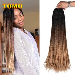 24 Inch Synthetic Braiding Hair Australia - TOMO Crochet box braids 24 inch Long Ombre Synthetic Braiding Hair extensions For Black Woman Kanekalon Fiber pink,grey,brown 22 Roots pack