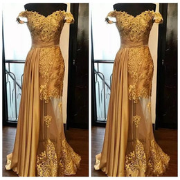 $enCountryForm.capitalKeyWord NZ - 2018 Gold Prom Dresses Off Shoulder Lace Appliques Beaded Mermaid Tulle Peplum Custom Dubai Vestidos Ruched Evening Dress Wear Party Gowns