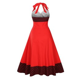 Amazon Eaby is selling vintage v-neck dresses in European station wave dot  splice plus-size new button skirt 42c2734df72