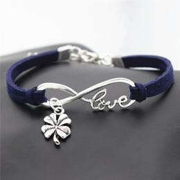 $enCountryForm.capitalKeyWord Australia - Silver Infinity Love Four Leaf Clover Plant Flower Pendant Charm Bracelets & Bangles Navy Blue Leather Suede Rope Jewelry for Women Men Gift